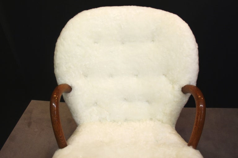 Mid Century Armchair in Button Tufted Sheepskin by Martin Olsen 8