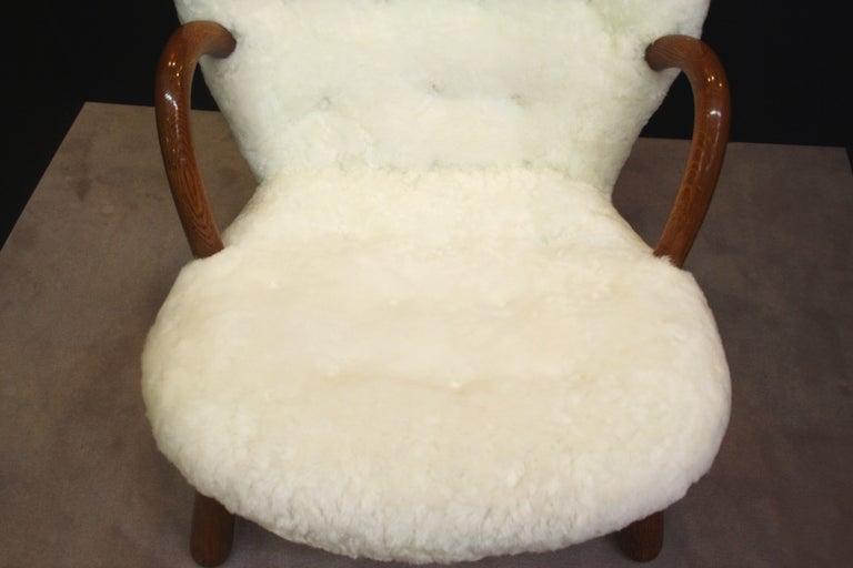 Mid Century Armchair in Button Tufted Sheepskin by Martin Olsen 7
