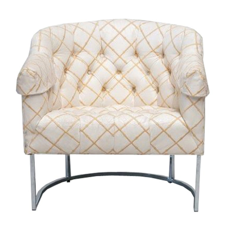 Mid Century Tufted Tub Chair By Milo Baughman At 1stdibs