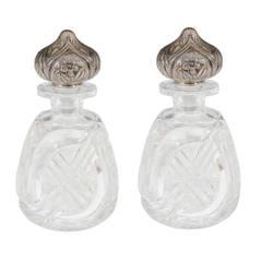 Vintage Pair of Cut Crystal Perfume Bottles with Sterling Silver Top