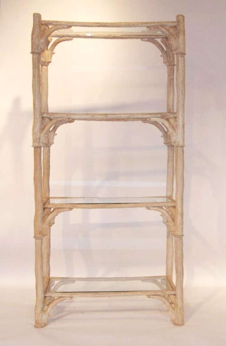 mid century resin faux antler etagere with glass shelves for sale at 1stdibs. Black Bedroom Furniture Sets. Home Design Ideas