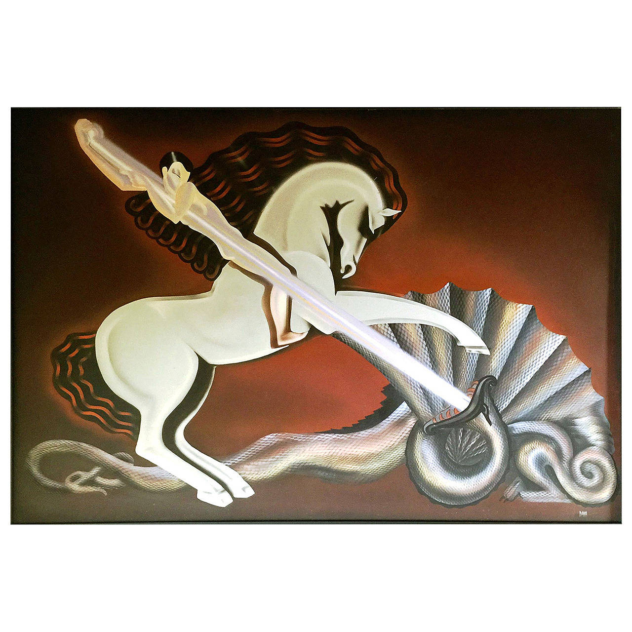 Modernist Art Deco Style Painting of St. George & the Dragon, Signed Dana