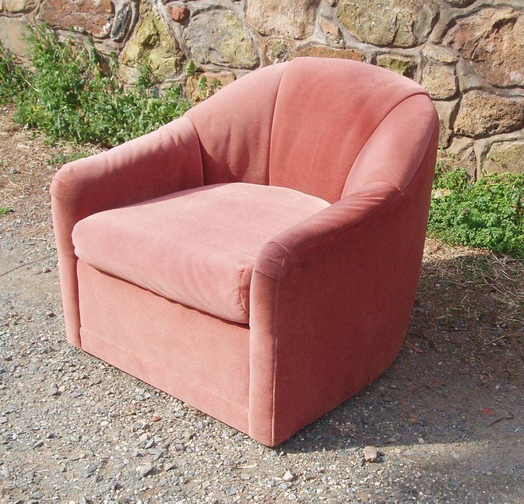 Antique velvet chairs - Vintage Velvet Barrel Back Chairs By W J Sloane Of New York 3
