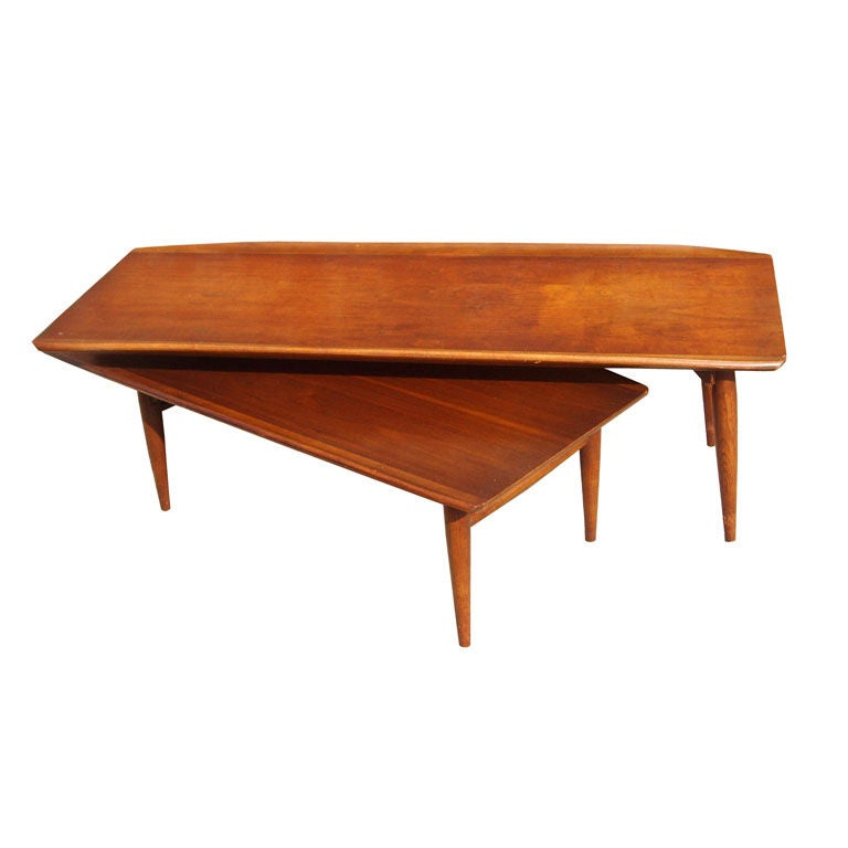 Mid Century Walnut Coffee Table With Swivel Shelf At 1stdibs