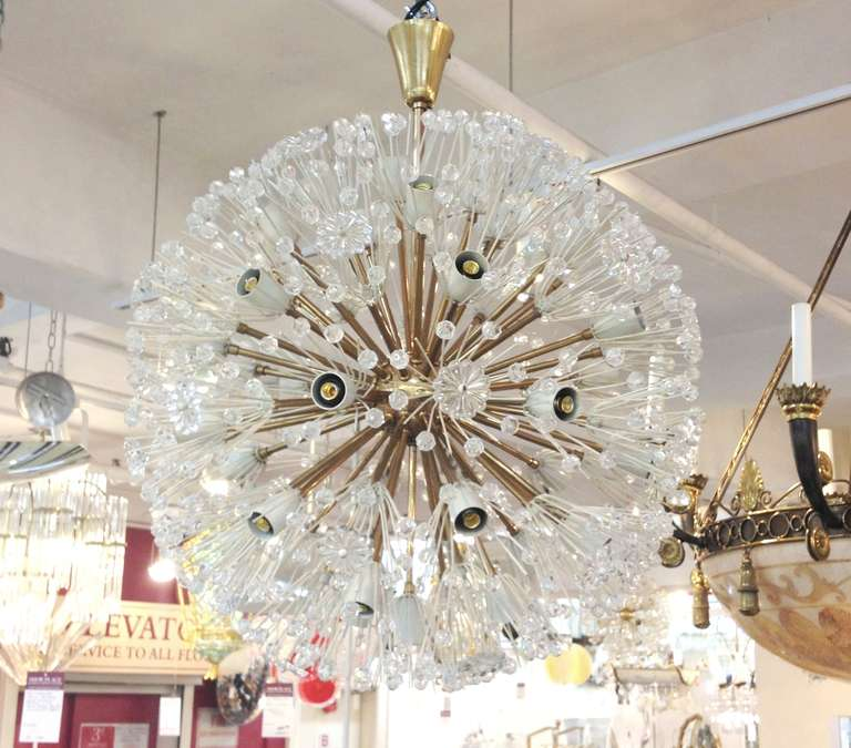 A mid century emil stejnar starburst chandelier at 1stdibs a vintage glass and brass mozeypictures Images