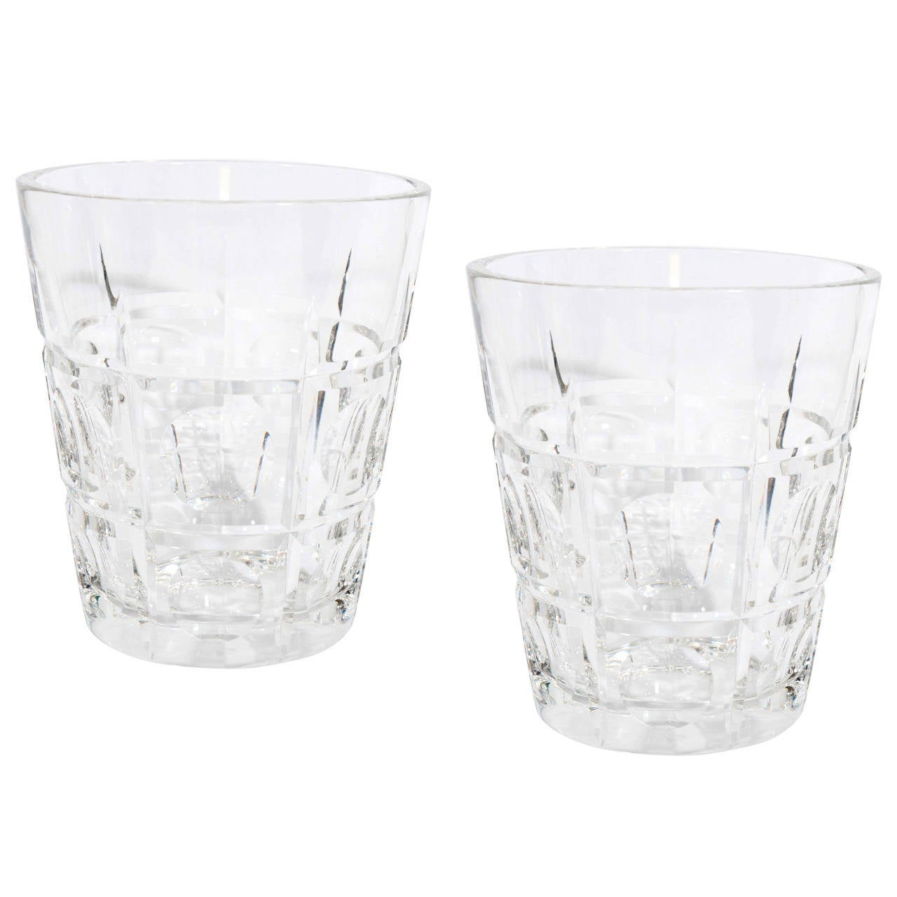 Vintage Pair of Sevres Crystal Vases or Ice Buckets