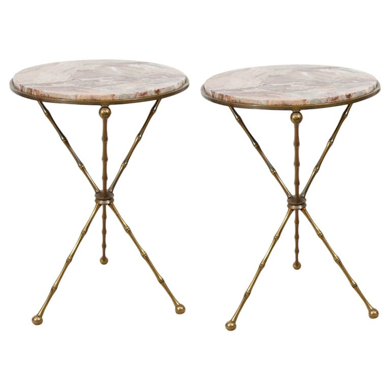 Midcentury Pair Of Italian Faux Bamboo And Marble Cocktail