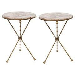 Midcentury Pair of Italian Faux Bamboo and Marble Cocktail or Drink Tables