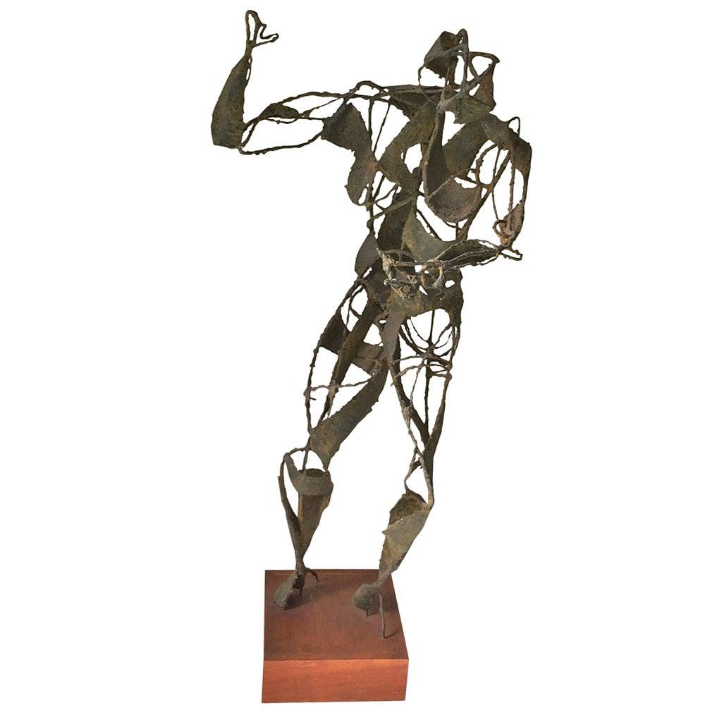 Brutalist Iron Sculpture of a Female Figure
