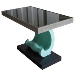 """Vintage """"Wave"""" Form Glass Top Console Table"""