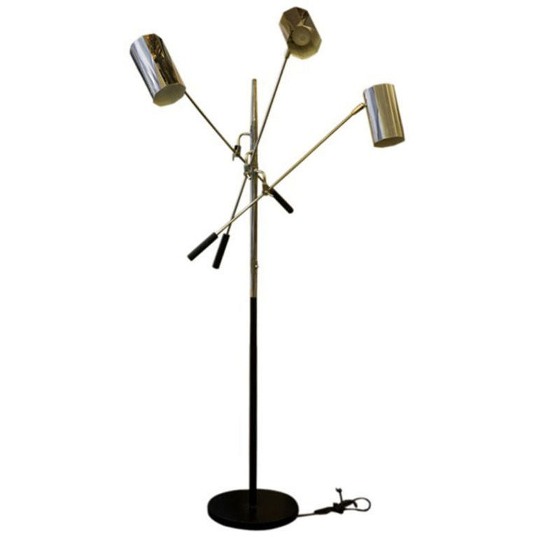 Three arm chrome floor lamp by gino sarfatti at 1stdibs for Floor lamp 2 arms