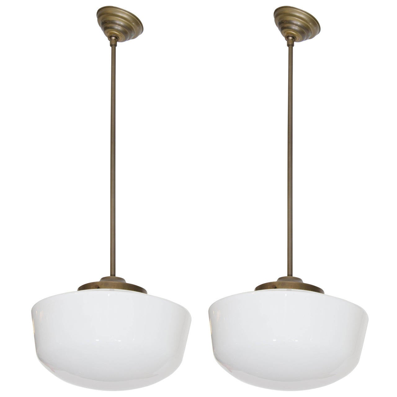 Pair of vintage schoolhouse milk glass and brass pendant for Antique pendant light fixtures