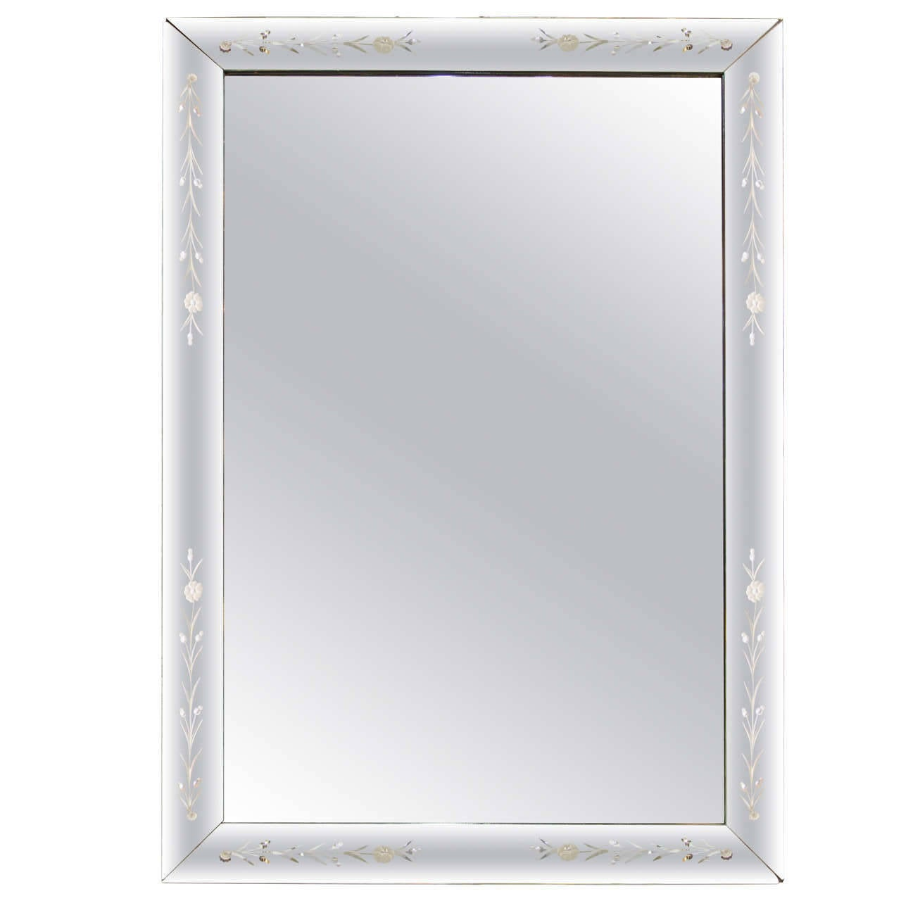 A gorgeous, substantial, and large rectangular Italian Venetian wall mirror, circa 1940s. Mirror has a straight line beveled mirror frame with etched design. Mirror can be hung vertically or horizontally.   Mirror measures: 3 in. D x 45 in. x 63 in.