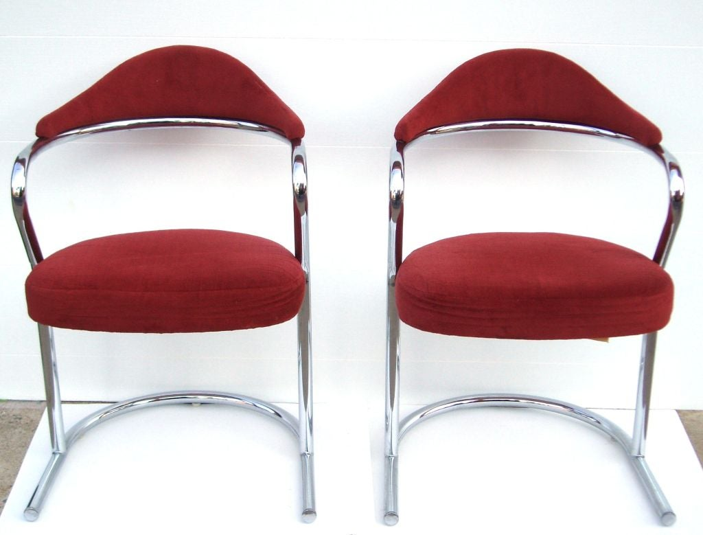 Pair Of Vintage Tubular Steel Scoop Back Chairs By