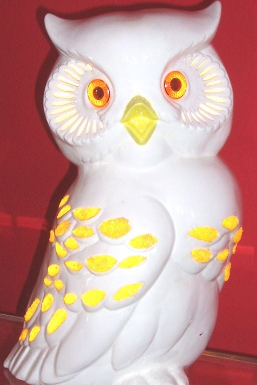 Vintage Porcelain Illuminated Owl Lamp At 1stdibs