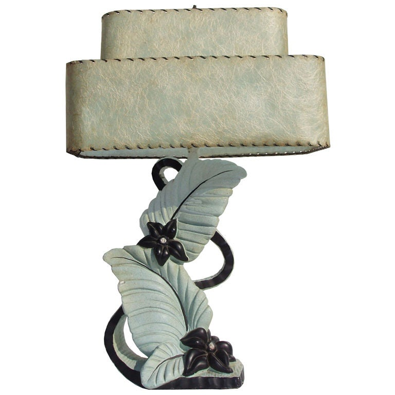 Vintage miami art deco floral form table lamp at 1stdibs - Deco table retro ...