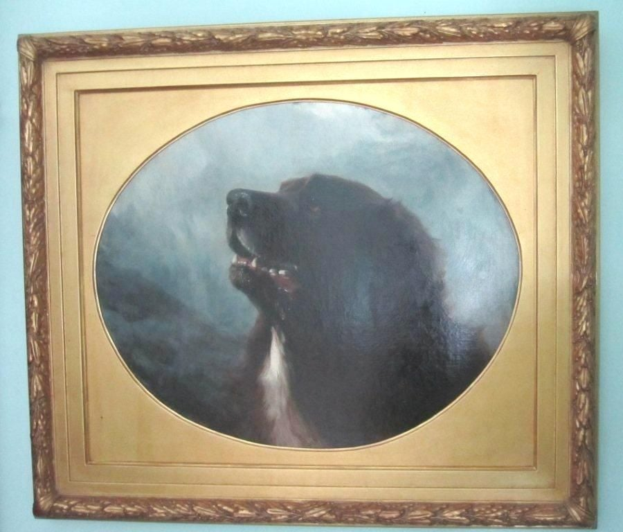 "Large oil on canvas painting by renowned artist George Earl of a St. Bernard named ""Tell"".  This is one in a series of dog paintings done by the artist.  Listed in William Secord's book ""Dog Painting:  The European Breeds"". The elaborate frame is"