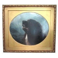 Oil on Canvas Dog Painting of a St. Bernard by George Earl