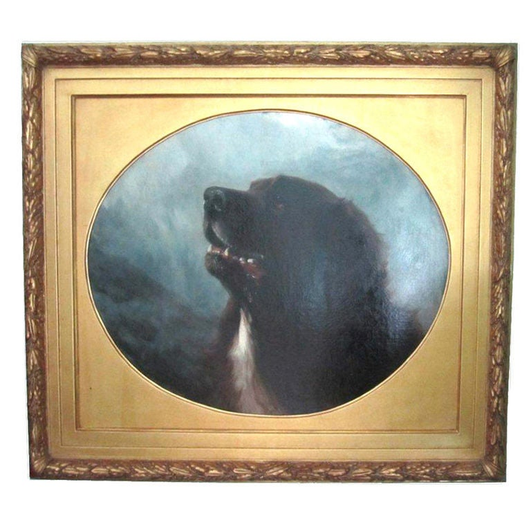 Oil on Canvas Dog Painting of a St. Bernard by George Earl For Sale