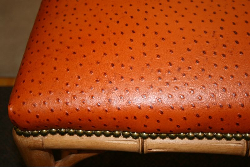 Faux Bamboo Bench with Ostrich Upholstery 2