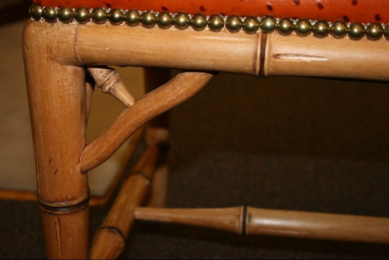 Faux Bamboo Bench with Ostrich Upholstery 3