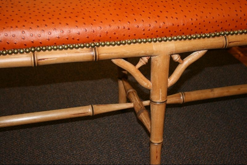 Faux Bamboo Bench with Ostrich Upholstery 4