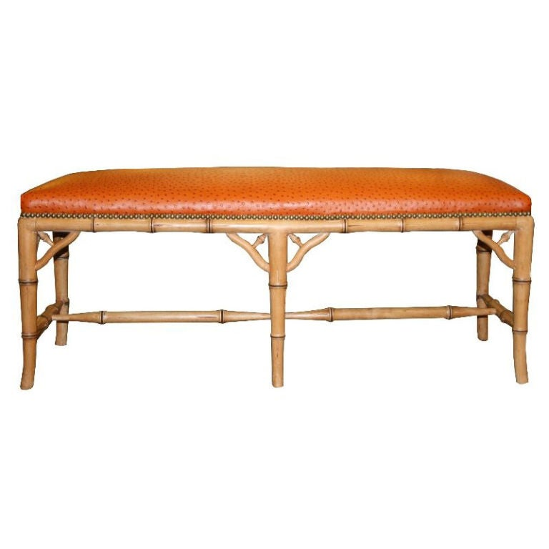Faux Bamboo Bench with Ostrich Upholstery 1