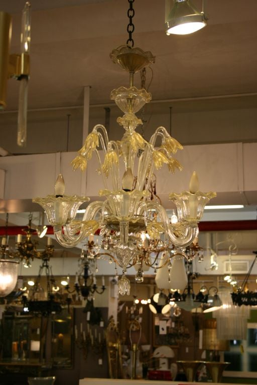 A six light Murano glass chandelier with unusual gold-flecked tulips design.