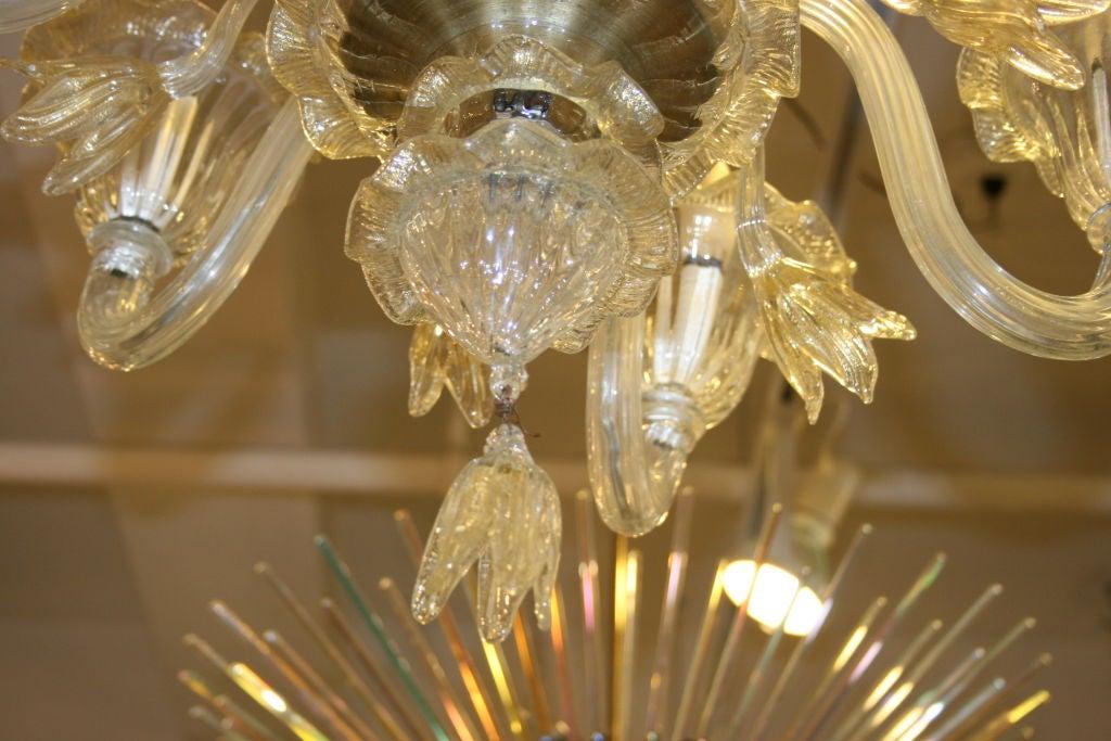 Italian Murano Hand Blown Glass Chandelier For Sale