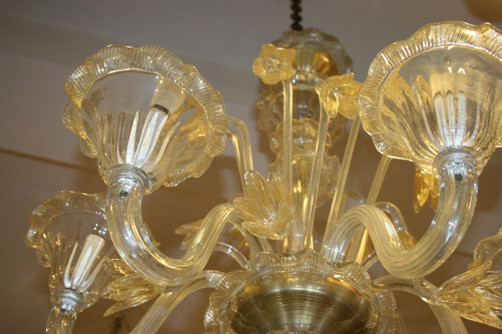 Murano Hand Blown Glass Chandelier For Sale 1