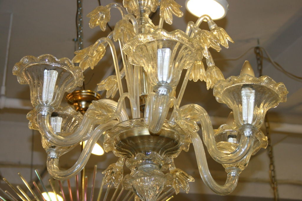 Murano Hand Blown Glass Chandelier For Sale 2