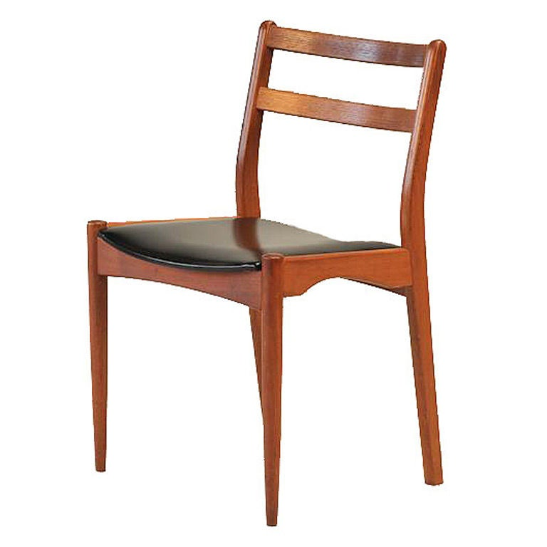 mid century danish modern teak and vinyl desk chair at 1stdibs