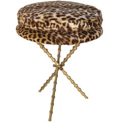 Mid Century Circular Leopard Print Tripod Stool by Fornasetti