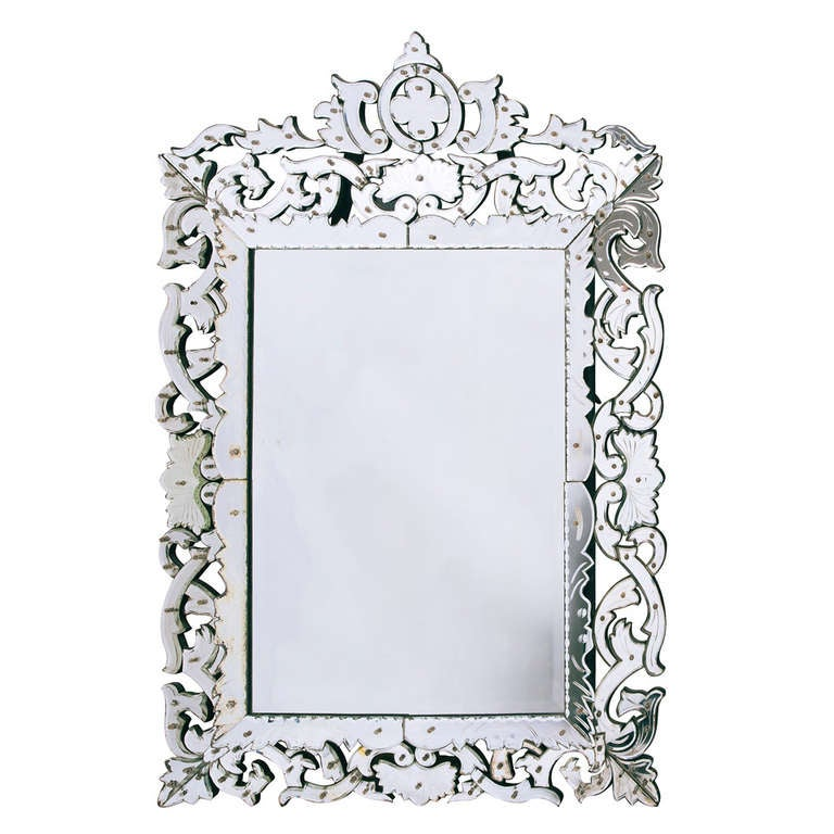 italian baroque venetian cushion mirror with mirrored frame and crest circa 1850 1 - Mirrored Frame