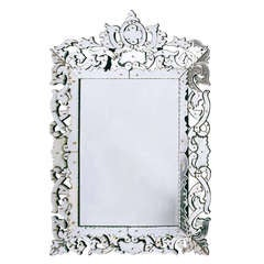 Italian Baroque Venetian Cushion Mirror with Mirrored Frame and Crest circa 1850
