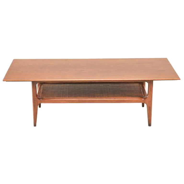 Mid Century Two-Tier Walnut Coffee Table For Sale At 1stdibs
