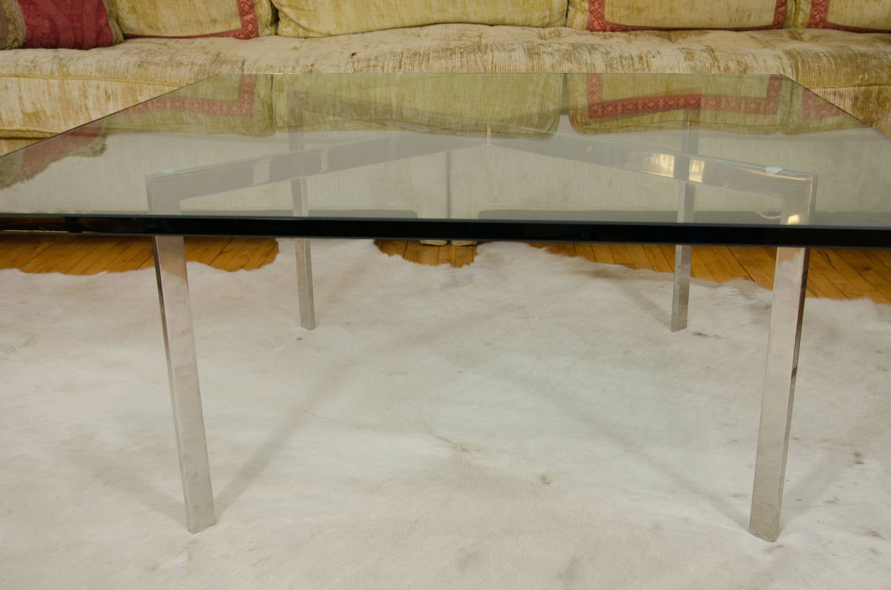 Midcentury Chrome X Base Coffee Or Cocktail Table For Sale At 1stdibs