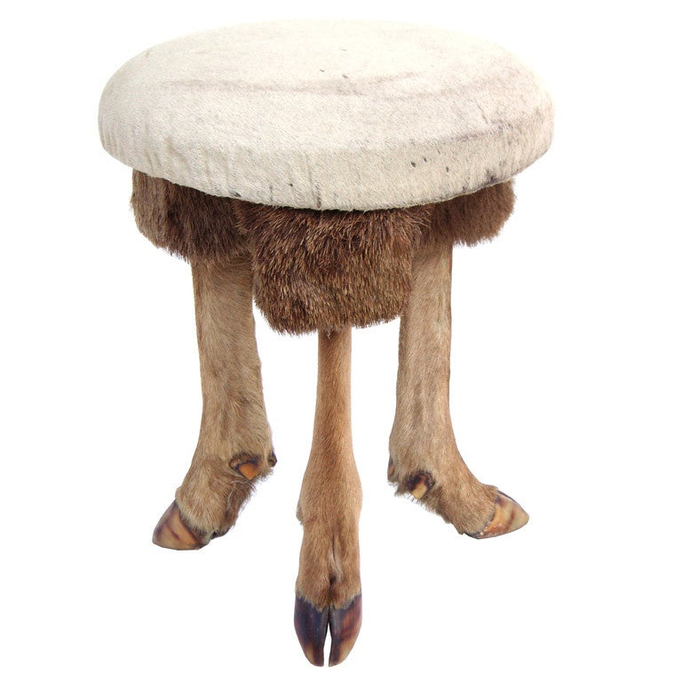 Vintage Tripod Stool W Deer Hoof Feet And Hair On Hide