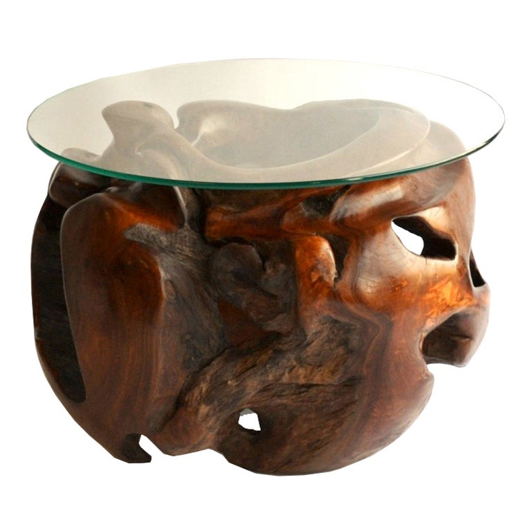 Teak Root Coffee Table Base: Mid Century Occasional Table With Teak Root Base At 1stdibs