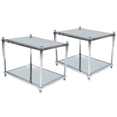 Pair of Mid Century Two Tier Chrome and Mirror End Tables