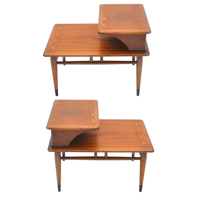 1950s Mid Century End Table By Lane Furniture: A Pair Of Mid-Century Two-tiered Walnut End Tables By Lane