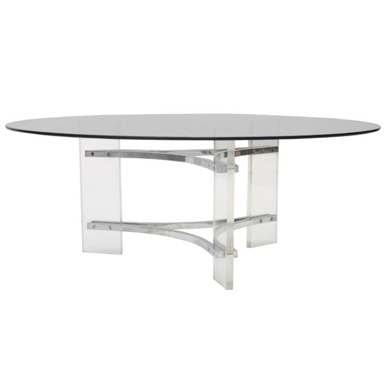 Mid Century Coffee Or Cocktail Table W/ Lucite And Chrome