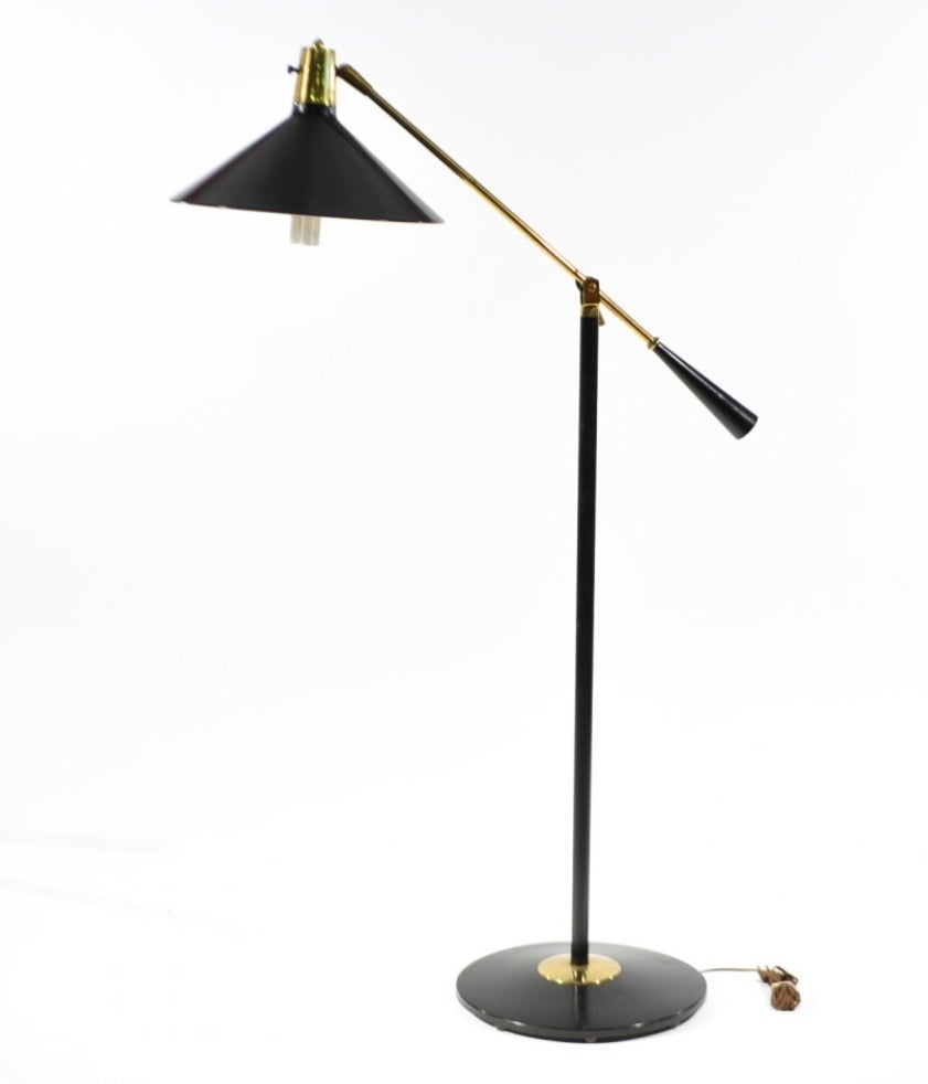 Mid century modern gerald thurston for lightolier black for Contemporary floor lighting