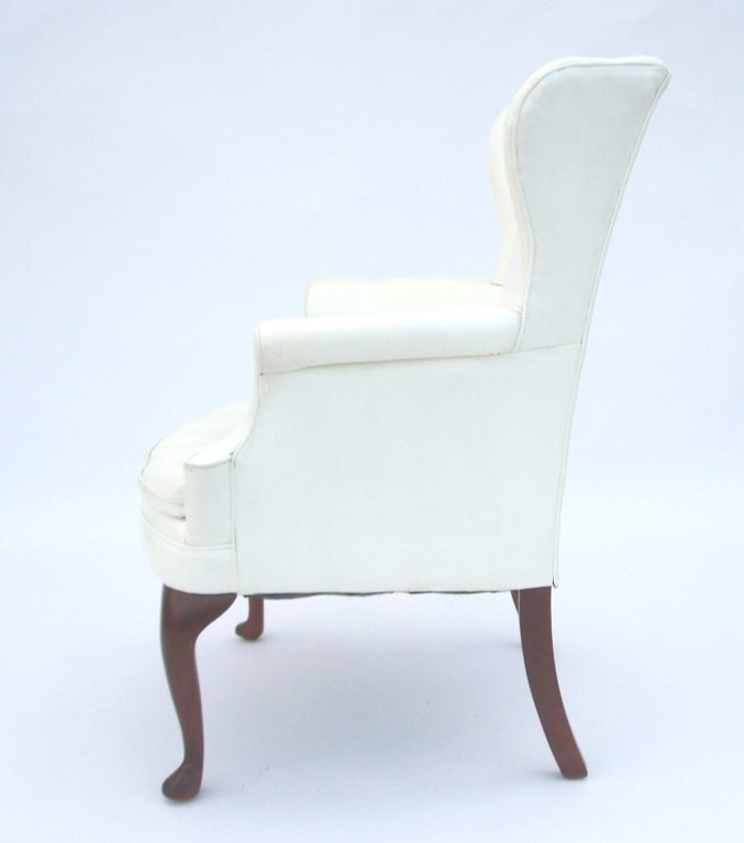 Mid Century White Vinyl Wing Chair With Tufted Seat At 1stdibs