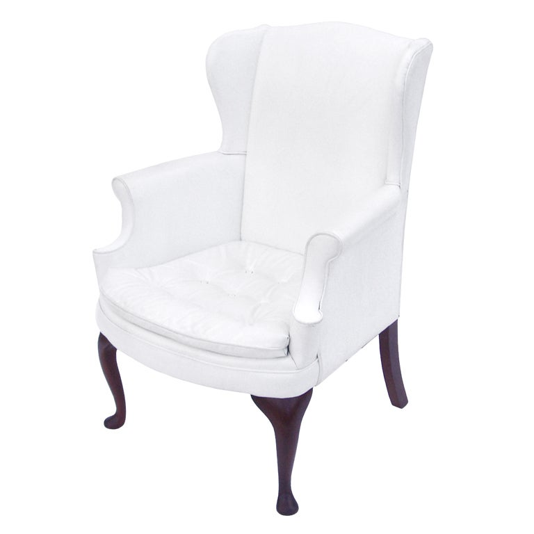 Prime Mid Century White Vinyl Wing Chair With Tufted Seat Pabps2019 Chair Design Images Pabps2019Com