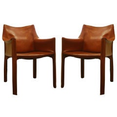 Pair of Cognac Leather CAB Chairs by Mario Bellini
