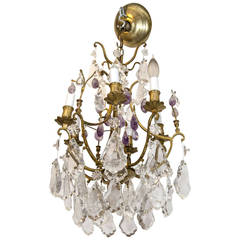 Gilded Bronze and Rock Crystal Chandelier with Purple Amethyst