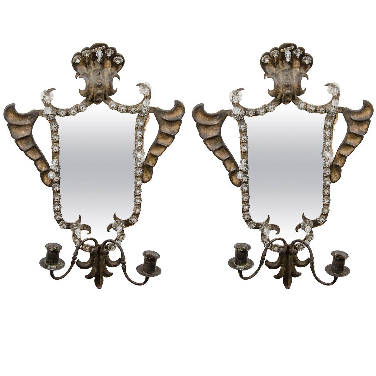Antique pair of venetian mirrored wall sconces in hand wrought antique pair of venetian mirrored wall sconces in hand wrought iron 1 amipublicfo Image collections