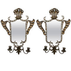Antique Pair of Venetian Mirrored Wall Sconces in Hand-Wrought Iron