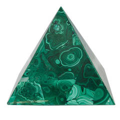 Decorative Malachite Pyramid with Green Swirl Detailing